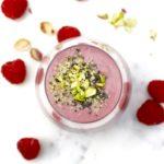 Berry Smoothie with almond milk, bananas, hemp seeds, chia seeds, avocado,