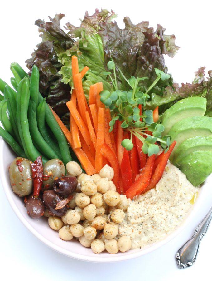 hummus bowl, vegan lunch,