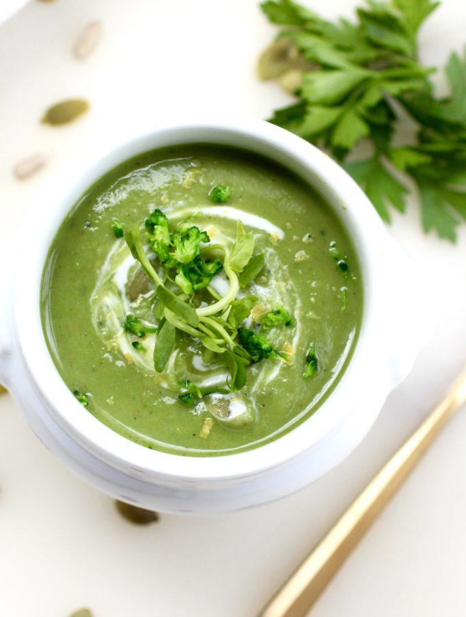 Green and Lemony Immune Boosting Soup