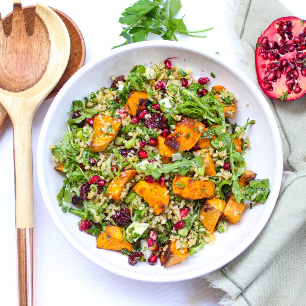 A winter tabbouleh salad full of vegetables
