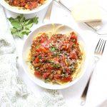 a bowl of lentil bolognese