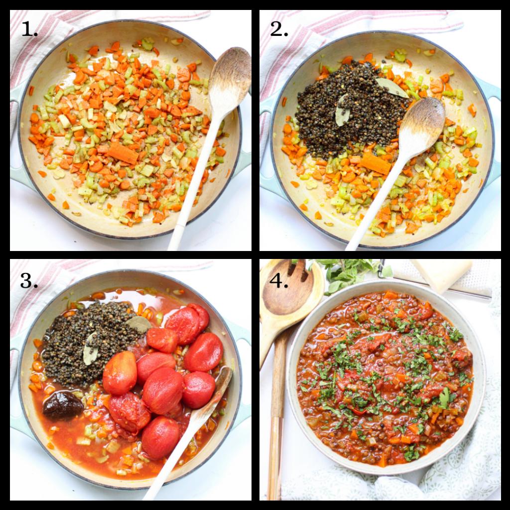 Steps to make Lentil bolognese