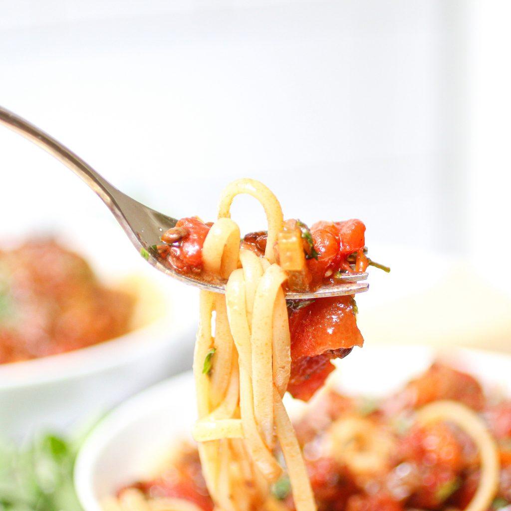 pasta and lentil bolognese