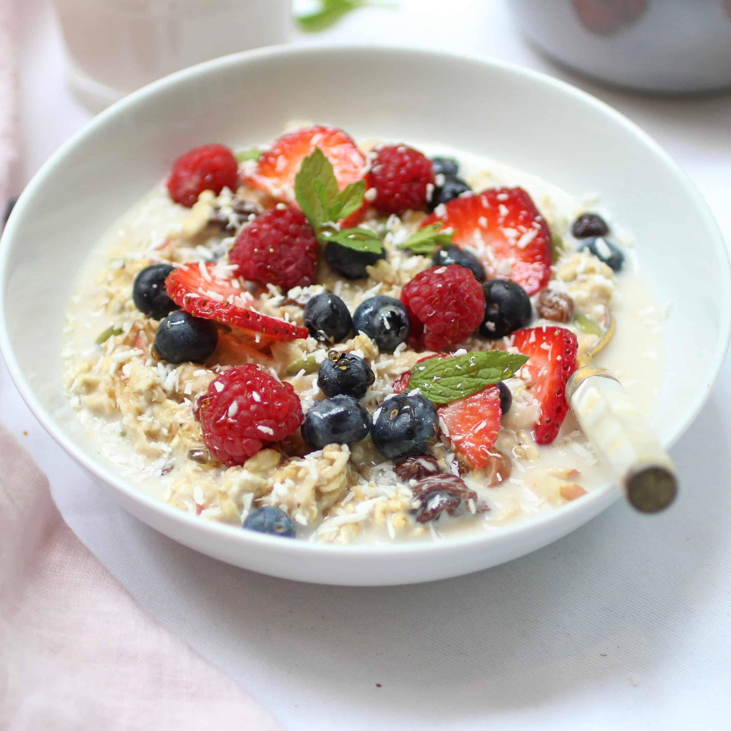 vegan bircher muesli for breakfast!